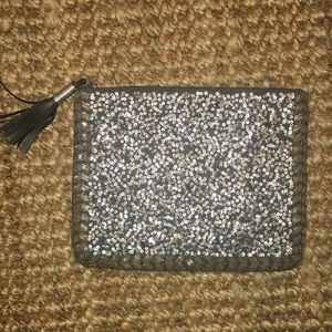 Mossimo Grey sequin zipper clutch